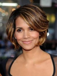 This chic Halle Berry's short brown wig with side swept fringe, it also feathers ombre hairstyles with layered curly that create chic and stunning feeling.