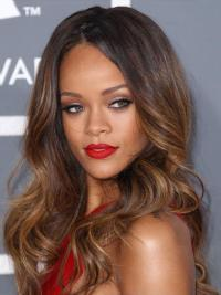 This trendy, super glamours Rihanna's wig features long length dip dye style with loose sprial waves, it also feathers centre parting hairstyle that offers you a way to instantly transform your look for any occasion.