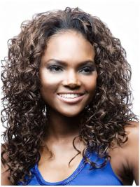 Long Brown Top Natural Looking Curly Wigs African American