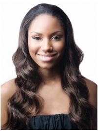 Long Wavy Trendy African American Human Hair Wigs Natural