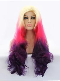 30 Inches Wavy Colorful Lace Front Wig Without Bangs
