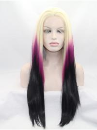 Beautiful Straight Colorful Wigs Lace Front Without Bangs