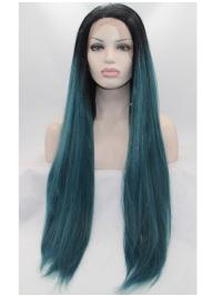 Straight Without Bangs Colorful Glueless Lace Front Wigs