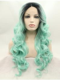 Colorful Curly Synthetic Lace Front Wigs Without Bangs