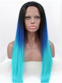 Without Bangs Long Straight Colorful Hair Lace Front Wigs