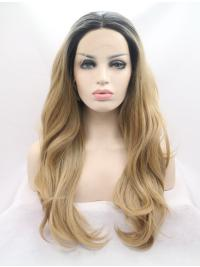 Without Bangs Synthetic Durable Celebrity Lace Front Wigs