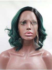 Curly Chin Length 11 Inches Sleek Google Lace Front Wigs