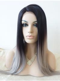Without Bangs Straight Comfortable Lace Front Wigs Synthetic