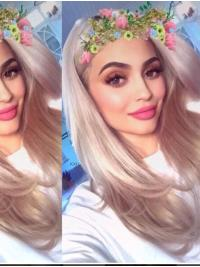 Platinum Blonde Straight Long 16 Inches Amazing Does Kylie Jenner Wear Wigs