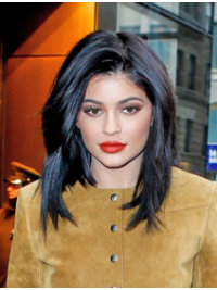 Black Straight Shoulder Length 12 Inches Flexibility Kylie Jenner Hair Wigs