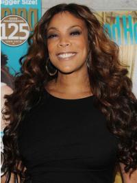 "Brown Wavy 26"" Womens Wigs Real Hair"