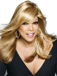"With Bangs 18"" Durable Wendy Williams Long Blonde Wig Real Hair"