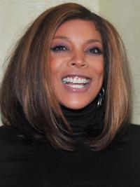 Ombre/2 Tone Shoulder Length Straight 100 Percent Real Hair Wigs No-Fuss Wendy Williams