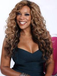 Soft Remy Human Hair Wavy Brown Celebrity Wigs