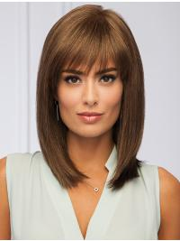 This beautiful woman wig is a slightly angled bang with light layering along the neckline.