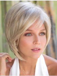 The wig is a sassy tousled bob with a perfect fringe.