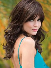 The woman wig is a long wavy wig style made of synthetic hair.
