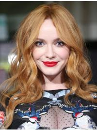 "15"" Shoulder Length Capless Layered Remy Human Hair Christina Hendricks Wigs"