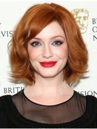 "High Quality Layered Copper Wavy Chin Length 13"" Christina Hendricks Wigs"