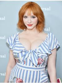 "Stylish With Bangs Blonde Wavy Chin Length 10"" Christina Hendricks Wigs"