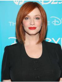 """Trendy Without Bangs Copper Straight Chin Length 12"""" Christina Hendricks Wigs"""