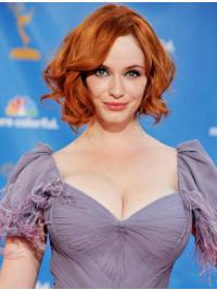 "Full Lace Synthetic Copper Chin Length 11"" Wavy Christina Hendricks Wigs"
