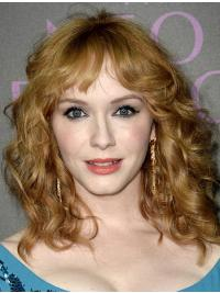 "Full Lace Synthetic Brown Shoulder Length 15"" Wavy Christina Hendricks Wigs"