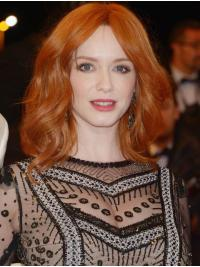 """Full Lace Remy Human Hair Copper Shoulder Length 14"""" Wavy Christina Hendricks Wigs"""