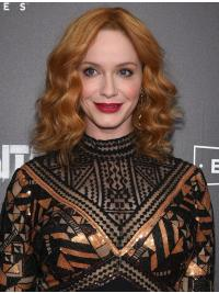 "Full Lace Synthetic Brown Shoulder Length 13"" Wavy Christina Hendricks Wigs"
