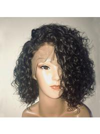 150% Density Curly Lace Front Human Hair Wigs With Baby Hair Pre Plucked 13x6 Short Human Hair Bob Wigs