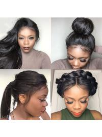 Full Lace Wigs Pre Plucked Natural Hairline With Baby Hair Straight Brazilian Remy Hair Wigs Bleached Knots