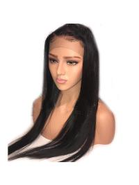 Straight Brazilian Remy Hair Lace Frontal Wigs Pre Plucked Hairline With Baby Hair