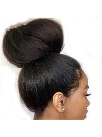 Pre Plucked Hairline Yaki Straight Front Lace Wigs Brazilian Remy Hair Wigs With Baby Hair