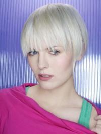 Grey Synthetic Sleek Short Wigs Fashionable