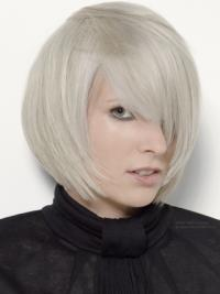 Chin Length Grey 12 Inches Women'S Fashion Wig