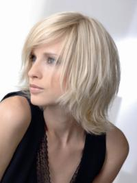 Wavy Chin Length Layered Young Fashion Real Wigs
