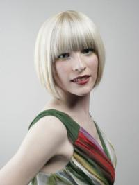 Straight Chin Length Bobs Young Fashion Human Hair Wig