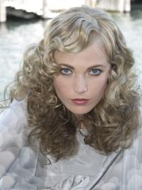 Curly Shoulder Length Grey Lace Front Fashion Wigs