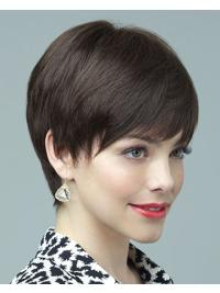 This wig is a short finger style layered tapering with a sweep of fringe bangs.